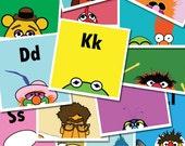"Muppets ABCs / 26 ABC Prints of The Muppets Original 4"" x 4"" Art Prints including Kermit, Animal, Beaker, Gonzo, Fozzie"