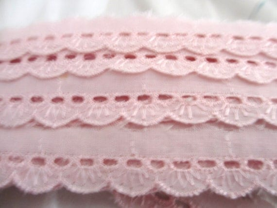 4 Yards 20mm Wide Light  Pink Beading Vintage Cotton Lace Trim  with Embroidered  Scallop Edges