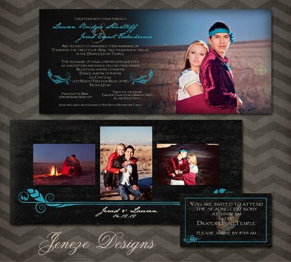 Native American Wedding Invitations: Items Similar To Native American Wedding Invitation Set On