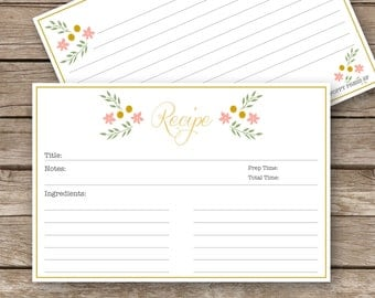 Printable Recipe Cards - 4x6 - Vintage Floral