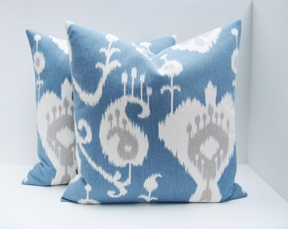 gray ikat pillows blue gray pillow decorative by eastandnest. Black Bedroom Furniture Sets. Home Design Ideas