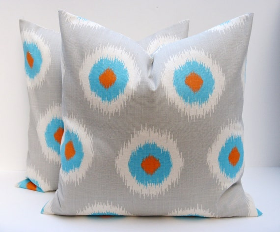 gray pillow covers orange blue orange pillows by eastandnest. Black Bedroom Furniture Sets. Home Design Ideas