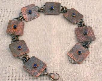 Textured Copper Bracelet With Lapis Stones