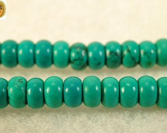 14.5 inch strand of Natural Turquoise smooth rondelle beads,green color 2x4mm