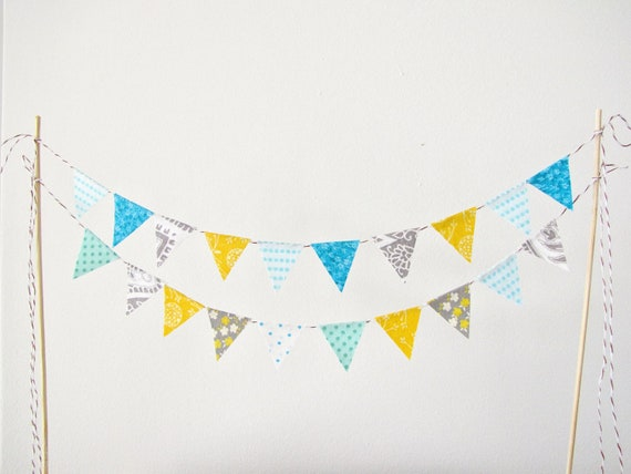 Fabric Cake Bunting Decoration - Cake Topper - Wedding, Birthday Party, Shower Decor in golden yellow, grey, and aqua