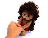 crocheted hedgehog, animal amigurumi, stuffed brown hedgehog, beige dark brown, forest woodland animal, toy gift for children