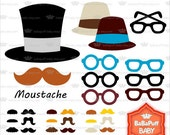Buy 2 Get 2 Free ---- Moustache Party Clip Art ---- Personal and Small Commercial Use ---- BB 0306
