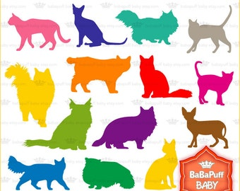 Buy 2 Get 2 Free ---- Cats Silhouettes Set 1 ---- Personal and Small Commercial Use ---- BB 0212