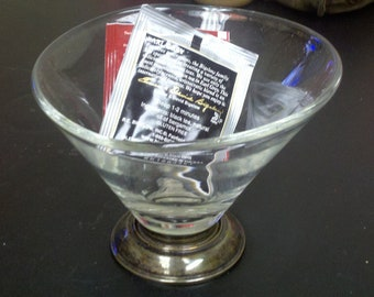 Glass and Silver Candy Dish / Decorative Bowl