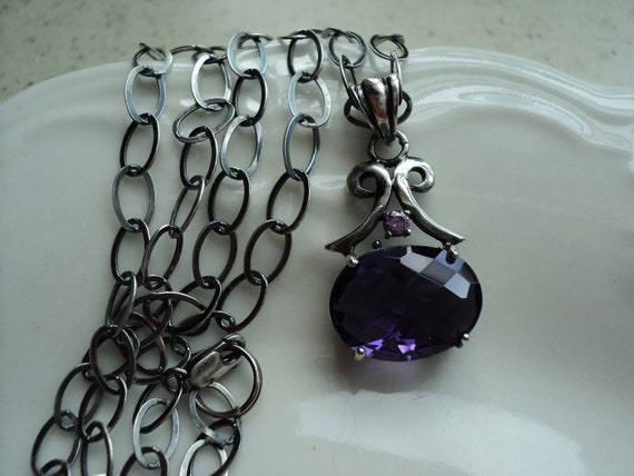 February Birthday Stone Oxydized Sterling Necklace Amethyst Crystal Pendant