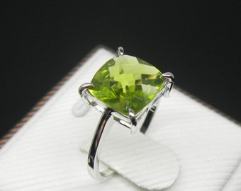 Engagement Ring -  2.5 Carat Peridot Ring In 14K White Gold