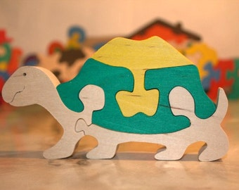 Peronalized Wooden Turtle Puzzle, Child's Puzzle, Kid's wood Toys. Wooden toys, wooden animal puzzle. eco-friendly handmade toys, children
