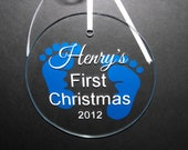 Personalized Baby's First Christmas Ornament - Baby Feet Ornament - Christmas Gift - Glass ornament