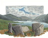 Uragh Five-Stone Circle /An Iúrach Ciorcal Cuig-Liag , Card Print