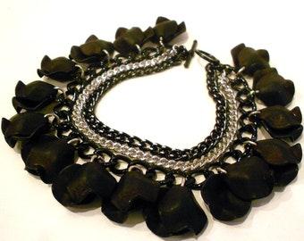 "Black ""Petal"" Beaded Multi Chain Bracelet"