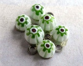 Vintage White Green Italian Millefiore Glass Charms (6X)