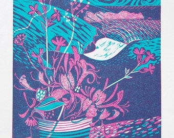 Porthcurno - Relief / Letterpress Print