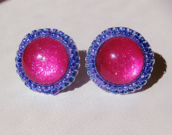 FREE SHIPPING Fuchsia & Violet Earrings