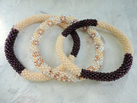 Set of three crocheted beaded bracelets - Brown and cream beaded bracelets ,Nepal roll on bracelets, Exclusive Collection
