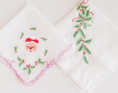 Christmas Handkerchiefs with Santa and Holly Set of 2