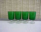 Set of 4 Vintage Luminarc Cavalier Emerald Aperitif Glasses, Vintage Barware, Made in France