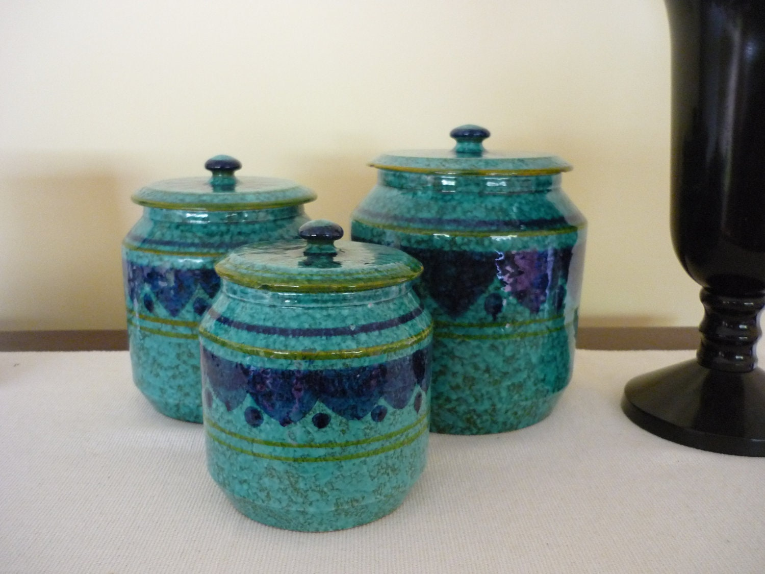 Vintage Ceramic Canister Set Retro Pottery Containers