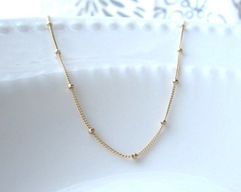Ball Chain Necklace, fancy satellite gold filled chain, dainty necklace, pretty layering necklace