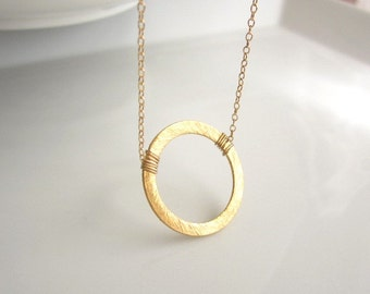 Eternity Circle Ring Necklace, karma Necklace, gold vermeil ring, 14k gold filled chain, simple everyday jewelry