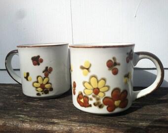 vintage retro daisy ceramic mug set of two