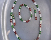 Reserved for LouAnn - Holly Day - Three Piece  White Shell, Red and Green Jade Beaded Necklace, Bracelet and Earrings