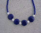 Cobalt Blue Porcelain and Glass Chunky Necklace