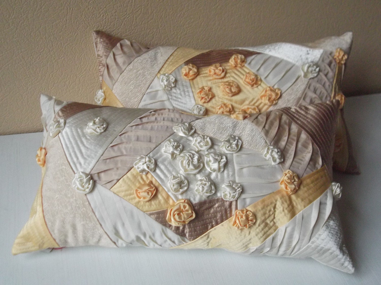 Throw Pillows Horchow : Throw pillows with handmade roses yellow beige ivory