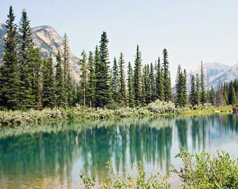 Mountain Photography - Mountain photograph, Lake photograph, Landscape photograph, Rocky Mountain Lake, Home decor, Cottage Decor