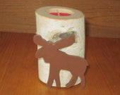 White birch tealight candle holders decorated with a moose