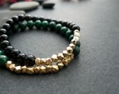 Black Onyx Beaded Bracelet with Gold Vermeil Faceted Nuggets - Modern High Fashion Bracelet - Perfect for Layering