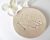 Bird Ceramic Dish Sand Color Plate  Pottery Eco Friendly Romantic Ring Holder Recycled Paper Box