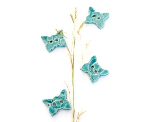 Ceramic Butterfly Buttons Turquoise Pottery Aqua Lace Ceramics