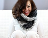 Infinity Scarf, Ribbed Chunky Cowl,  Knitted in Grey Marble and Charcoal stripes - Handmade for you