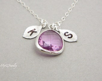 TWO Initial Necklace, Personalized February Birthstone Necklace, Lavender Jewelry, Couple Necklace, Couple Initial Necklace, silver necklace