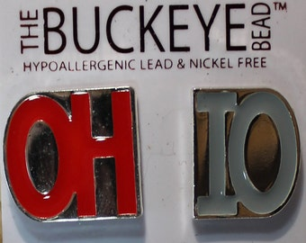 OH-IO Scarlet & Gray Post Earrings Ohio State Buckeyes Jewelry OSU Ohio