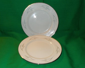 """Two (2), 6 1/2"""" Porcelain Bread & Butter Plates, from Royal Cameo, in the Silver Wheat 1301 Pattern."""