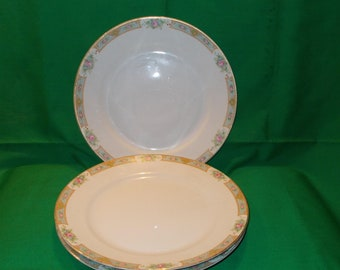"""Three (3), Nippon, 9 7/8"""" Porcelain Dinner Plates from Noritake, in """"The Luzon"""" Pattern."""