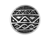 3 African Shield 11/16 inch ( 17 mm ) Metal Buttons Silver and Black Color