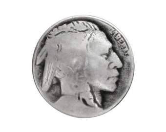 6 Indian Head 5/8 inch ( 15 mm ) Metal Buttons Silver Color