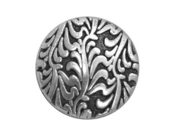 6 Fronds 5/8 inch (15 mm ) Metal Buttons Antique Silver Color