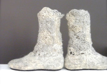 Wool Felted Boots,Felted Boots,Lacy Crocheted  Boots,Slouch Lace Boots,Leg warmer,Lace Boots Cuff,Out/Indoor Boots,Slow Design -momoish made