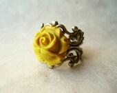 Yellow Rose Ring, Mustard Yellow Jewelry, Yellow Flower Ring, Polymer Clay Ring, Adjustable Ring. Brass Filigree Ring.