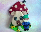 Polymer Clay Milestone/Christmas Ornament  Cake Topper Mushroom House Gnome Elf Tompte