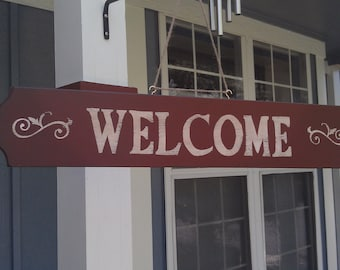 WELCOME SIGN, Hand crafted, distressed wood  sign