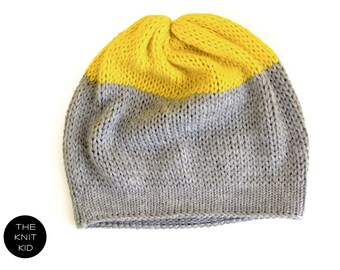 Beanie grey yellow cashmere merino angora color block  knitted hat theknitkid the knit kid